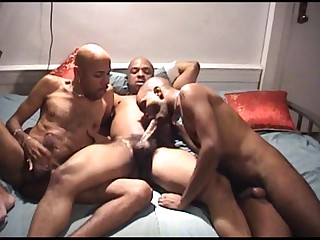 You wouldn't make no doubt of what these 3 hot ebony fellows are into. They are into all masculine hard engulfing action. Watch them show off their muscular physique as they pamper their stiff poles with every others' mouth. Watch them whacking their meats until they all