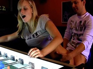 There`s lots of games in this arcade section of the club. There`s movie games, there`s a pinball machine too. These 2 teenies were playing an sinless game of pinball, however it pretty soon turned into smth much more x-rated. Right in the middle of the place, they begin ripping off every others clothing. They`re so sexually excited that they don`t even see the other people around 'em. However, they definitely see 'em. They`re all turning and looking now. They can`t make no doubt of what those 2 sexually excited teenies are doing out in the wide open.