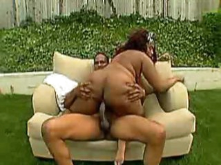 Fat black girl with giant milk shakes boned outdoors