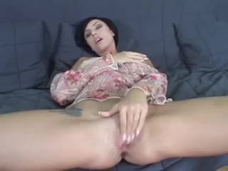 Ungentlemanly with a fat smile and natural breasts plays with vag