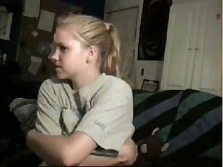 Blonde cutie chatting on web camera