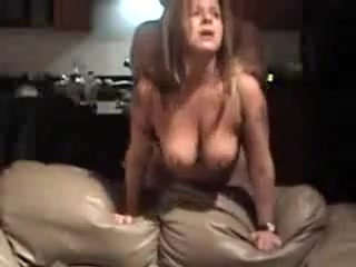 Mature bitch with large natural billibongs is fucked from behind, her man is coarse with her.