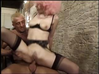 French hairdresser acquires a good hard rail and Double penetration whilst customer dries hair