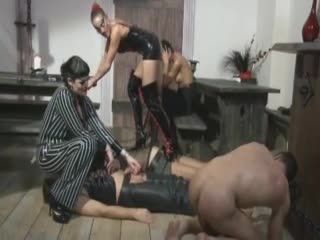 Femdom group play with male pain
