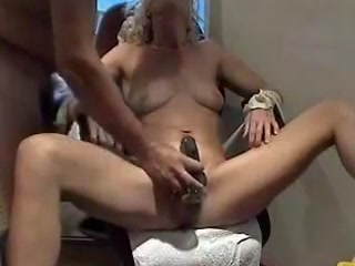 The vibrating fake penis can have a lot of different purposes and doesn't just have to be used on the pussy. Dude uses is off label to massage her whole tight body and give her throat a taste of her own pussy juice.
