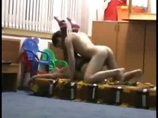 Cute vid of two teens screwing at the nursery school after hours.  She leaves on her stockings and striped ankle socks.  Cute to hear her quiet moans.
