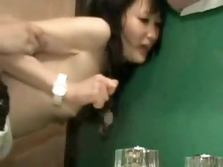 It is a tight fit in this bathroom, and a tight fit in her pussy.  But this couple manages to fuck in several different positions, and finally he leaves his sexy cum inside her, a nice creampie for us to see.