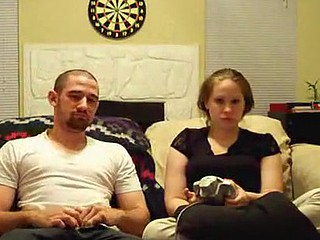 Hot dilettante porn of a video-games-loving couple