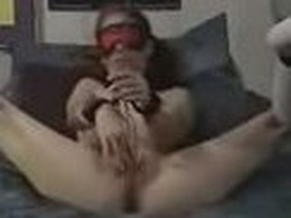 Bound gal tries to jerk off