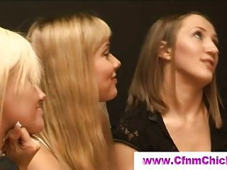 Cfnm babes cherish playing with cock
