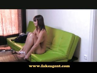 FakeAgent Elegant slippery tit jerk off at interview