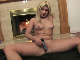 Cute chubby golden-haired goes solo with her fake penis
