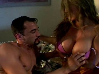 Sexy blonde Latina MILF with huge knockers is so horny for his man meat