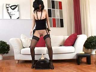 Triggerman rides the Sybian saddle , dressed at her hawt very well good in dark stockings, thong, coupled with a little dark top, she moves aside her panty crotch coupled with settles her shaven pussy fro above the vertical rubber dildo. Our DDF cameras c