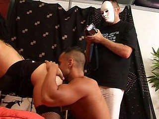 A masked pervert films two hawt spaniards fucking up-close