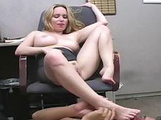 Office battle-axe makes get under one's janitor lick her perspired armpit & feet