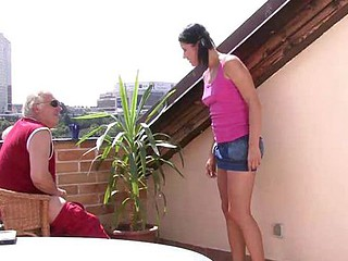 Daddy has taboo fun on balcony