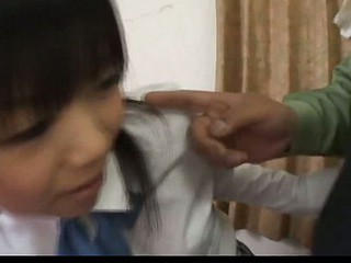 Minami Asaka Lovely Asian schoolgirl plays forth their way large vegetables
