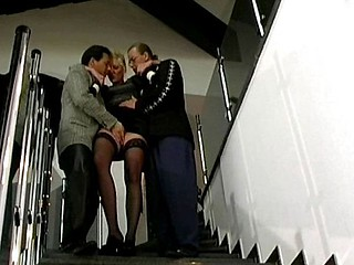 Blonde german bitch takes atop two chaps more her irritant and pussy