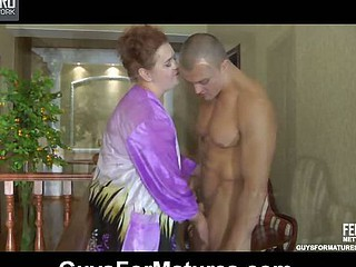 Crummy mommy bares her mounds and touches her muff luring a stud into a fuck