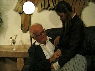 Old lad and dorky lad receive this breasty dark brown to eat cock and group sex in threesome