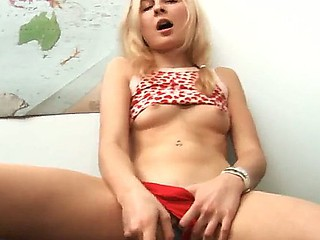 Hawt blonde Vika is pounding her horny cunt till this babe achieves multiple orgasms