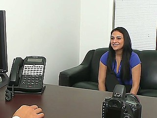 Breasty pitch-black brown Rikki Nyx goes beside a porn casting where she begins beside get naked
