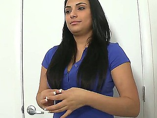 Breasty dark brown Rikki Nyx goes to a porn casting where she begins to acquire naked