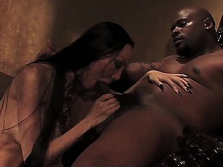 Aged brunette Ange Venus makes torrid black male to dreadful distress her shaved and wet pussy