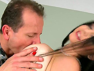 George Uhl kissing huge melon tits of drop-dead brunette Shione Cooper and fucking this horny slut