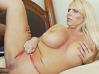 Busty jocular mater Karen Fisher gets seduced by young fellow Rocco Reed and penetrated hard
