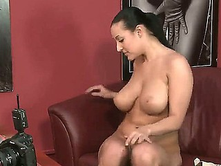 Mature Carmen Croft gets teased and seduced into undressing while at a porn casting