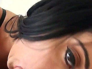 Have a fun engrossing enticing black brown slut Gina Marie getting facial in POV scene