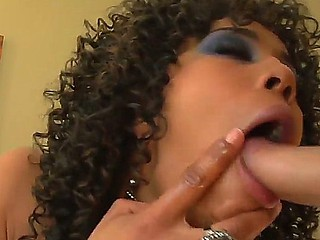 Dazzling black cooky with hot curly hair Misty Stone is doing a valuable oral stimulation