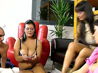 Naughty Jasmine Black,Rye and Sheila Grant are playing lusty undress poker during hardcore orgy sex