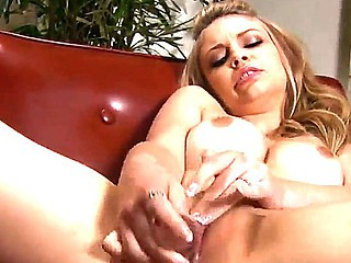 Gorgeous blond chick Bree Daniels is solo masturbating her soaked constricted pussy on camera
