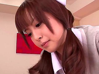 Lickerish asian nurse Hirono Imai treats her patients wih finicky orall-service treatments