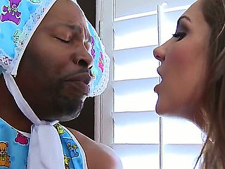 Gorgeous Kiera King doing a role play with her enormous baby black bf