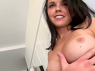 Nasty brunette Dillion Harper enjoys deep-throat blowjob with her fucker