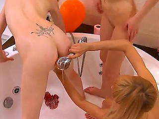 Have enjoyment with three shameless lesbo chicks Alice, Loly and Vika playing in a washroom