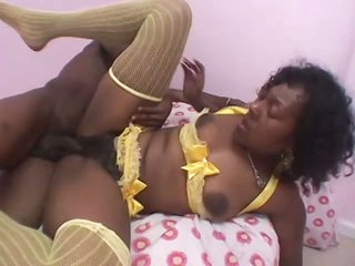Breasty Ebony Babe Sucks and Fucks Her BF's Big Black Jock In Lingerie