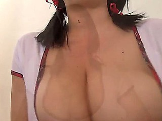Breasty and hot darksome haired inexpert