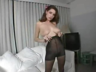 Pantyhose fetish play with breasty natural beauty