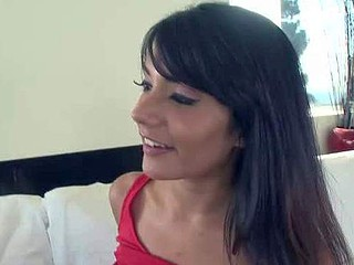 Dark haired ethnic babe Shazia Sahari with natural tits plays