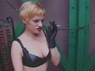 Blond femdom-goddess encircling latex punishes Felix cause he's encircling trouble