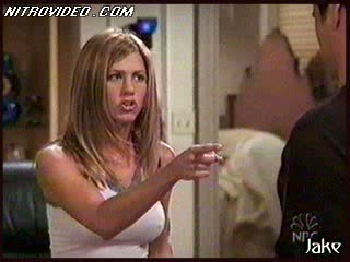 Jennifer Aniston Takes Off Her Bra Relative to Her Shirt On and Jumps On Joey
