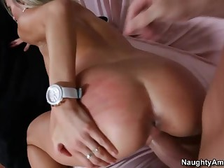 Horny bloke fucks his wife's incredibly hot cohort Laura Crystal