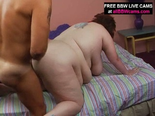 Really large fat brunette getting drilled from behind