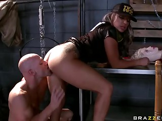 Big titted cop Carmen Jay gets team-fucked by porn guy