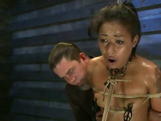 Sexy External Diamond acquires suspended above a sybian